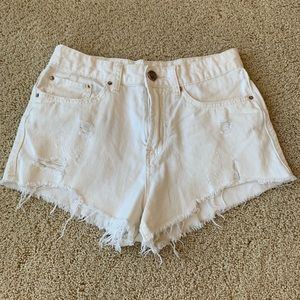 Urban Outfitters BDG Distressed White Jean Shorts